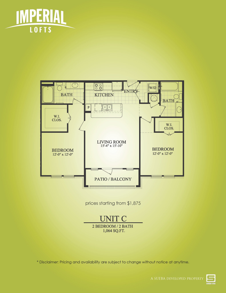 1,064 sq. ft. C floor plan