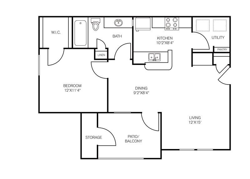 700 sq. ft. Amistad floor plan