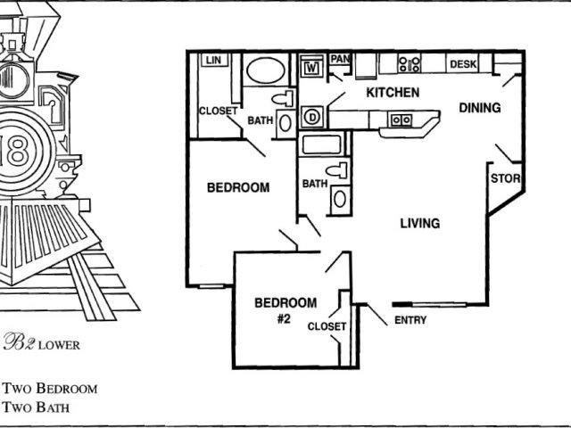 1,015 sq. ft. B3 floor plan