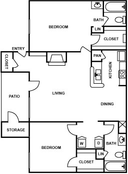 1,013 sq. ft. E floor plan