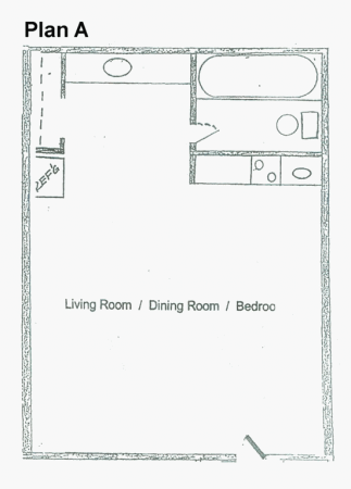 455 sq. ft. A floor plan