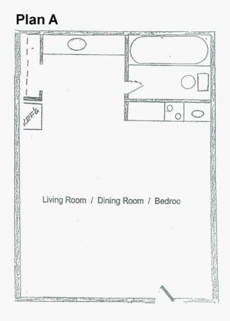 455 sq. ft. A floor plan