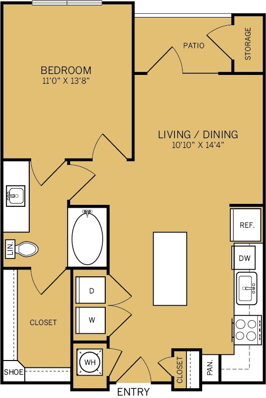 714 sq. ft. to 722 sq. ft. A2 floor plan