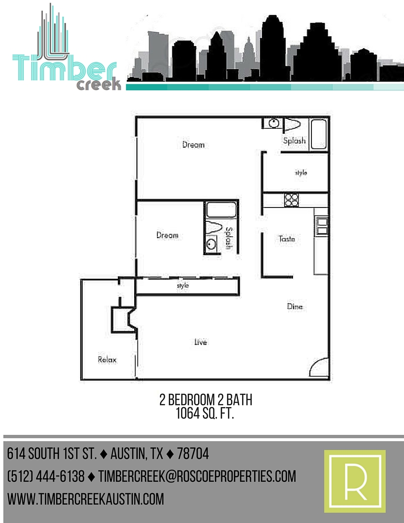 1,064 sq. ft. B8 floor plan