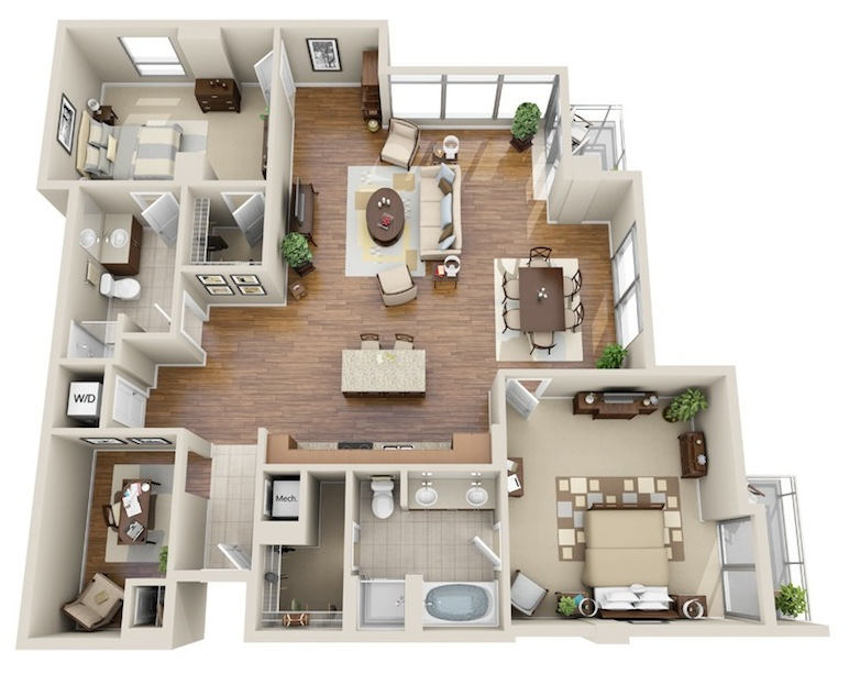 1,638 sq. ft. B6 floor plan