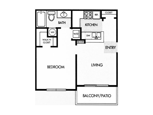 572 sq. ft. A floor plan