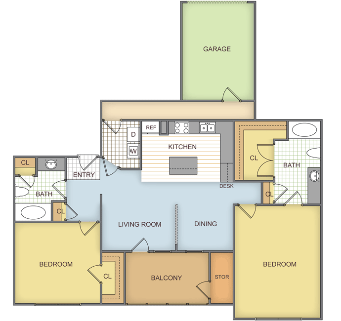 1,093 sq. ft. Pinebridge floor plan