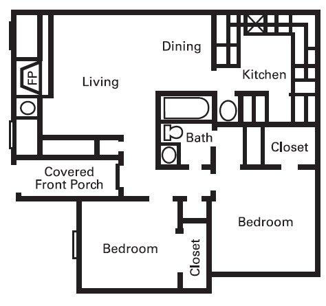 878 sq. ft. B1 floor plan
