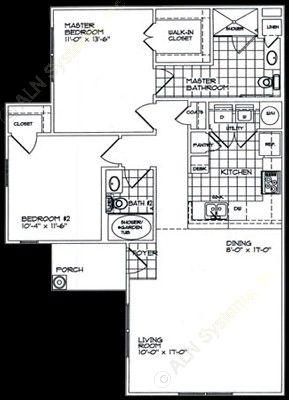 1,053 sq. ft. B2 floor plan