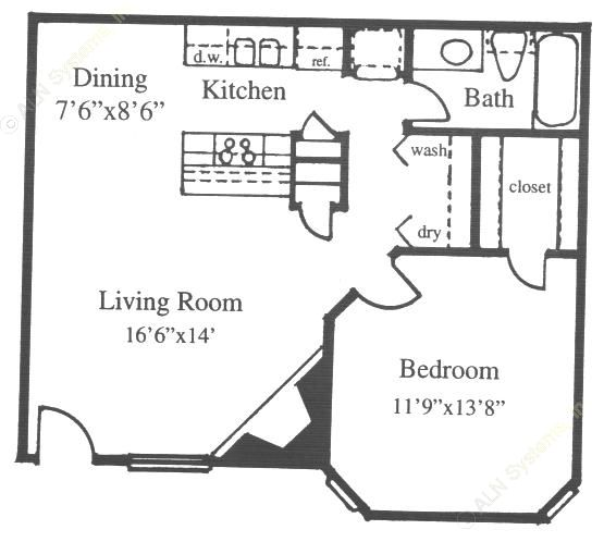 672 sq. ft. D floor plan