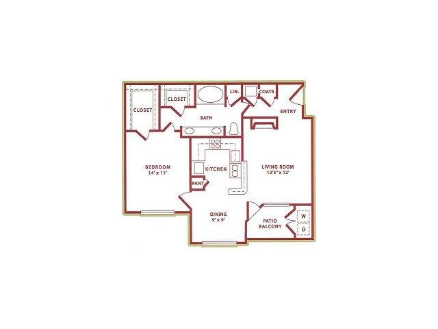 800 sq. ft. (A3) Fall floor plan