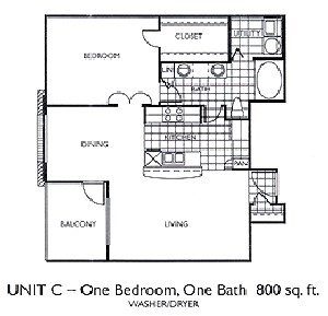 800 sq. ft. A5 floor plan