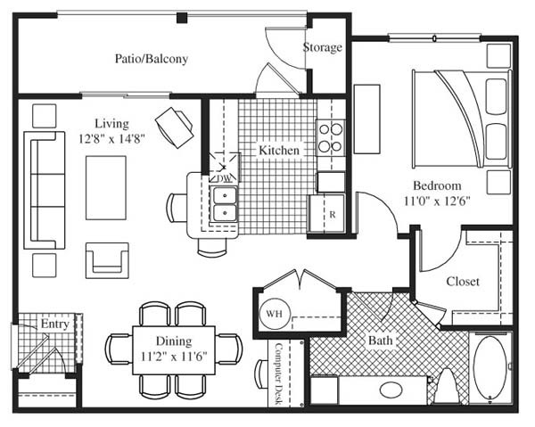 788 sq. ft. Beringer floor plan