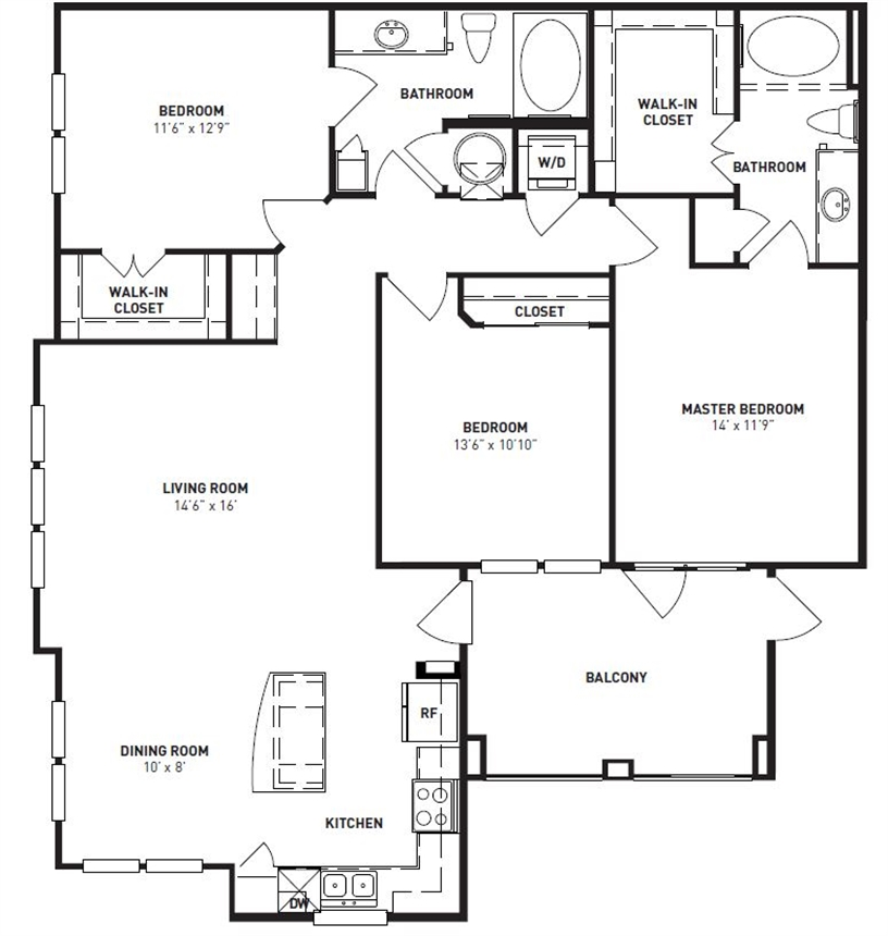 1,368 sq. ft. Oak floor plan