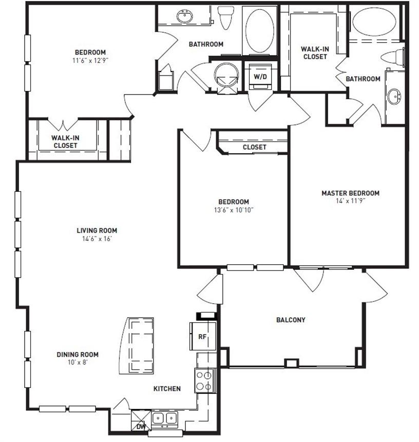 1,368 sq. ft. Oak floor plan