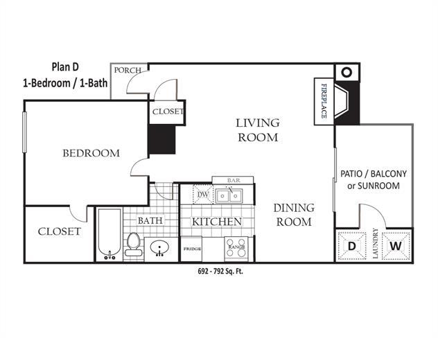 672 sq. ft. to 792 sq. ft. D floor plan