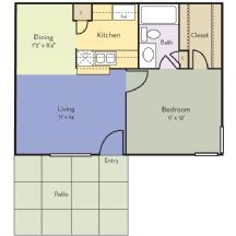 550 sq. ft. Aster floor plan