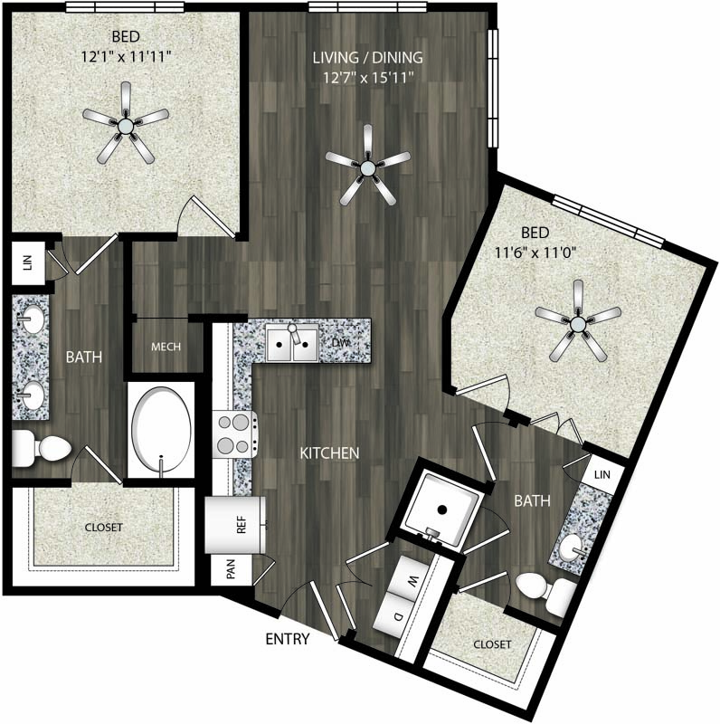 1,024 sq. ft. B1 floor plan
