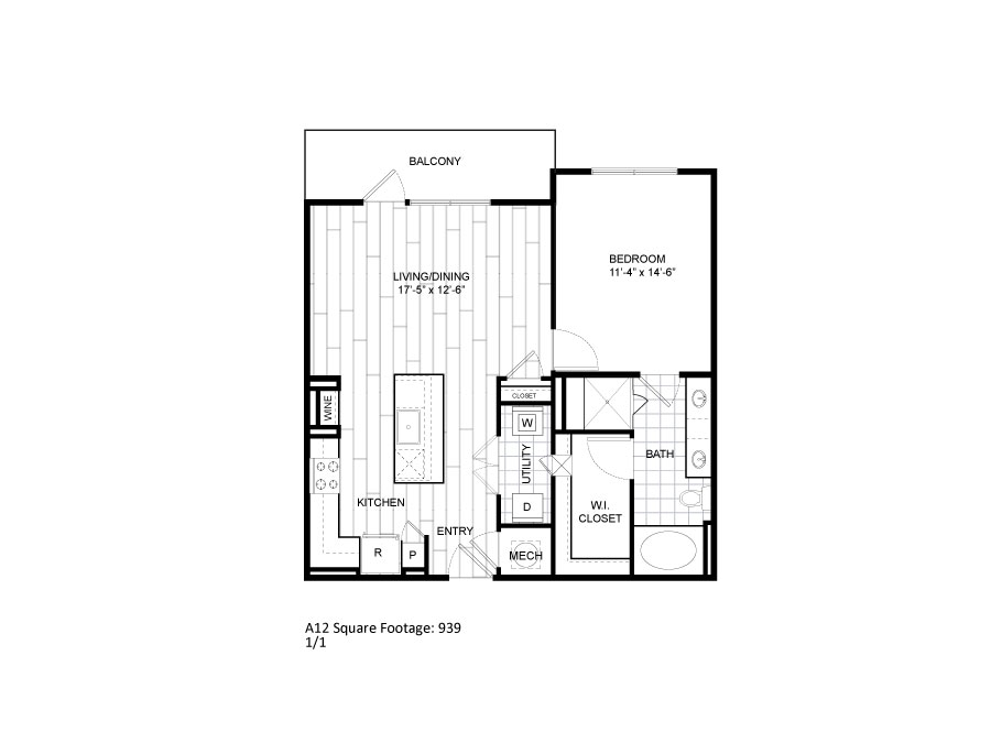 939 sq. ft. A12 floor plan