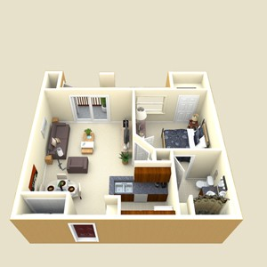 620 sq. ft. Whitney floor plan