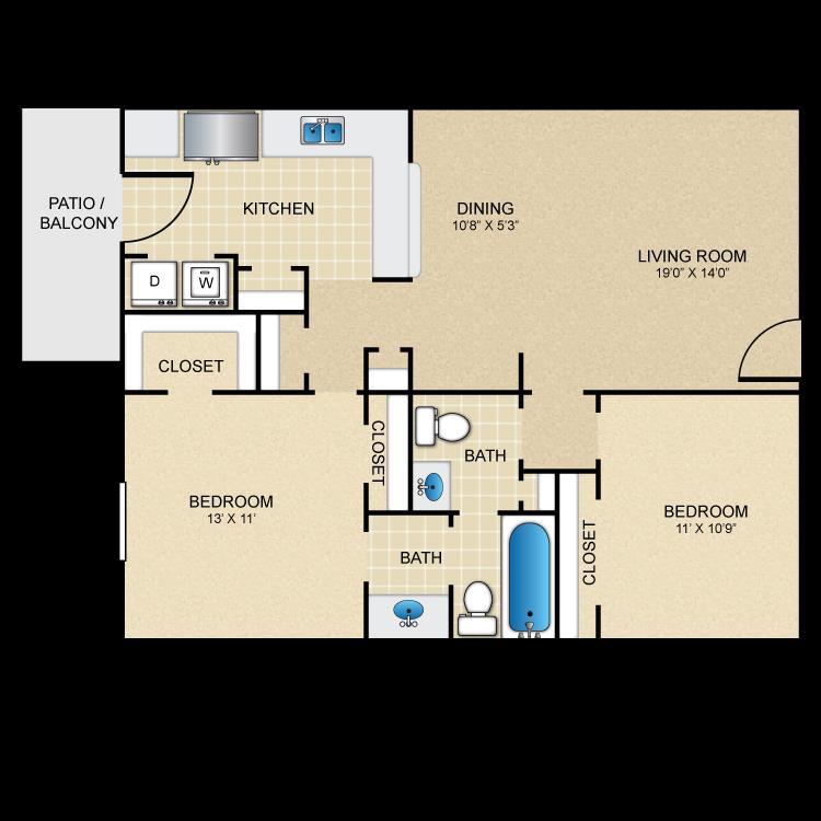950 sq. ft. E floor plan