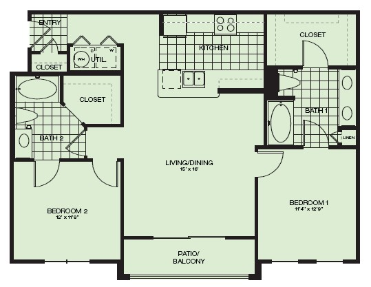 1,046 sq. ft. Toscana floor plan