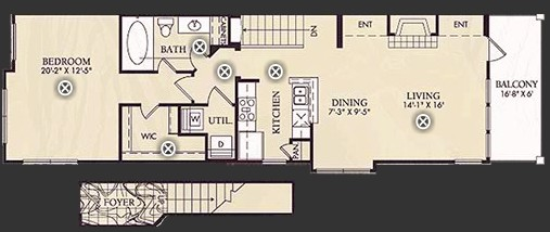 941 sq. ft. A5 floor plan