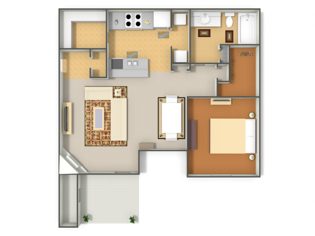 799 sq. ft. Mockingbird floor plan