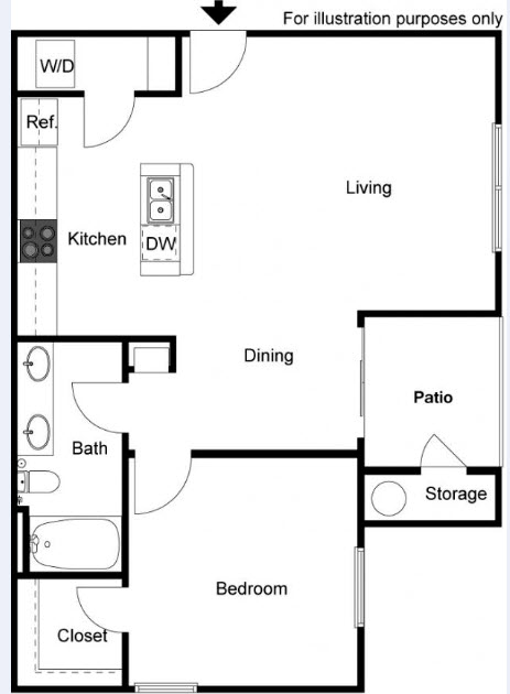 745 sq. ft. Live Oak floor plan