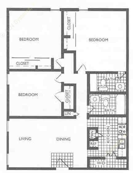 1,176 sq. ft. C1 floor plan