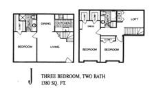 1,380 sq. ft. J floor plan