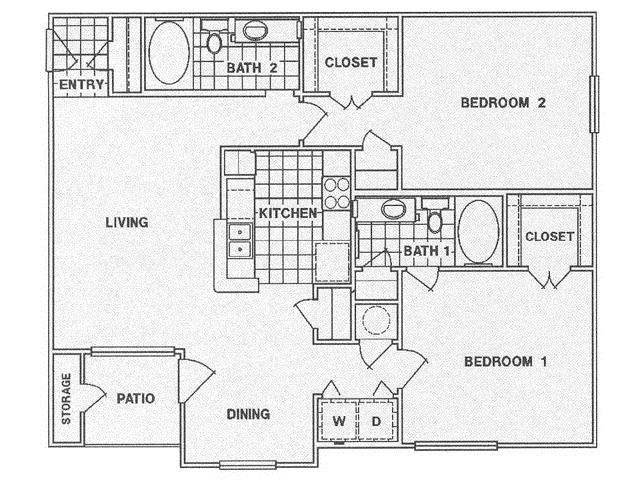 1,143 sq. ft. E floor plan