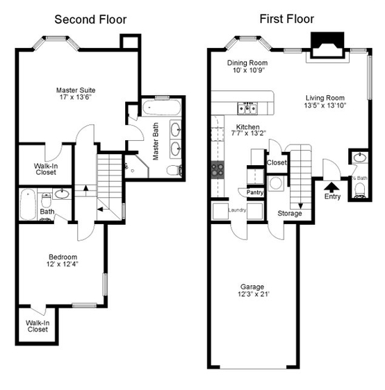 1,261 sq. ft. Woodhaven floor plan