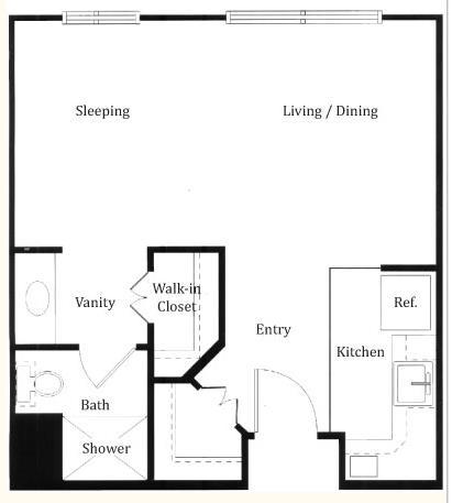 428 sq. ft. Ascot floor plan