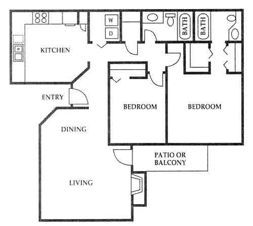 1,100 sq. ft. I floor plan