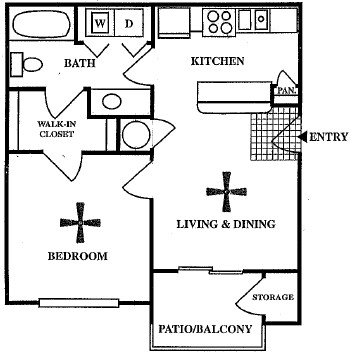 511 sq. ft. A1/50% floor plan
