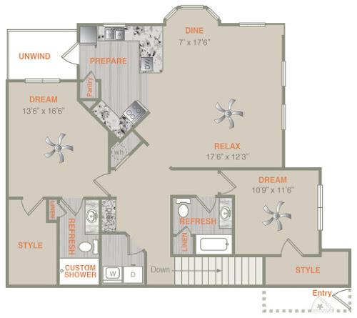 1,458 sq. ft. B2U floor plan