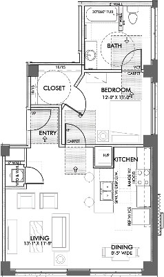 743 sq. ft. Jones 60% floor plan