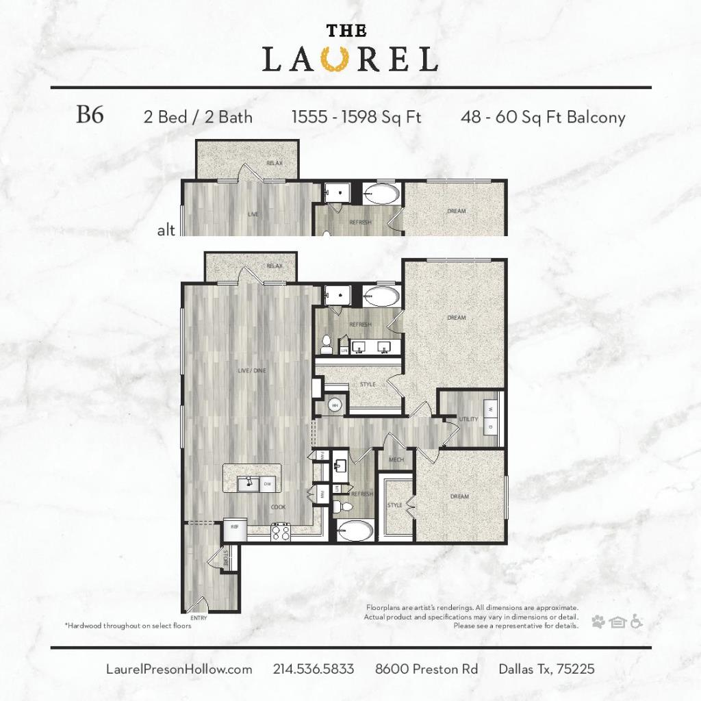 1,555 sq. ft. to 1,598 sq. ft. B6 floor plan