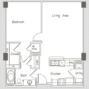 756 sq. ft. A1.1.1 floor plan