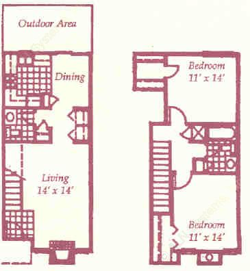 1,037 sq. ft. L floor plan