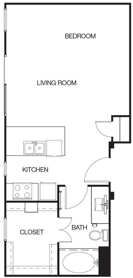 536 sq. ft. E2 floor plan