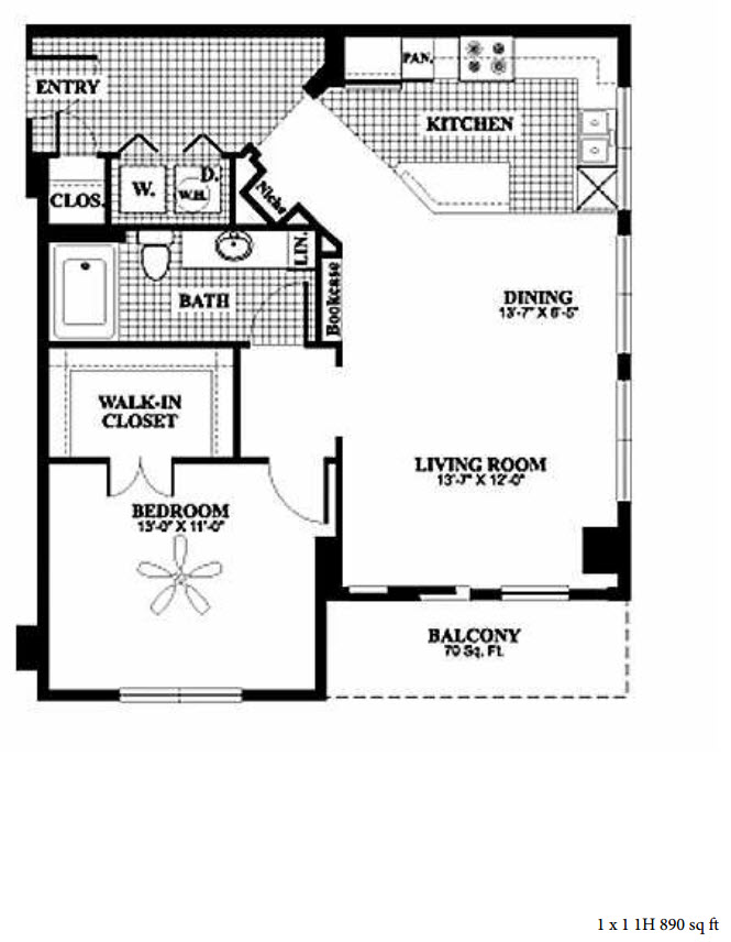 890 sq. ft. 1H floor plan