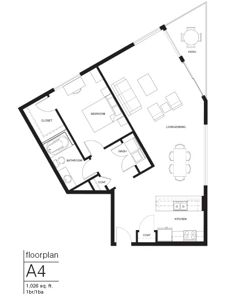 1,026 sq. ft. A4 floor plan