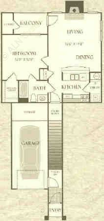 662 sq. ft. A1-L floor plan