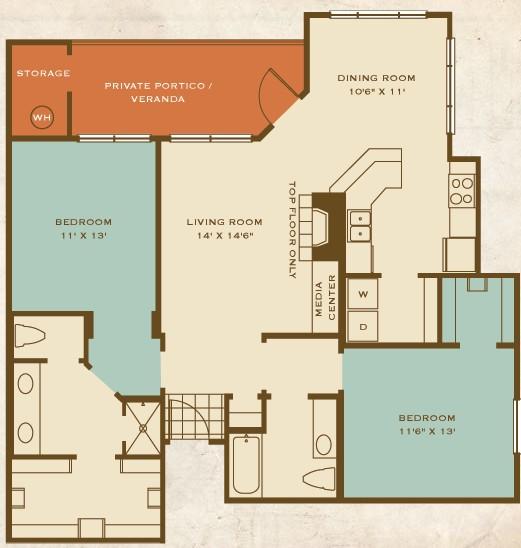 1,214 sq. ft. B3 floor plan
