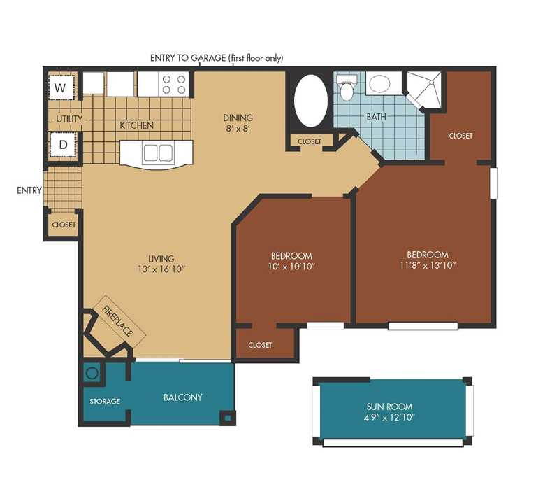985 sq. ft. Woodrose/SR floor plan