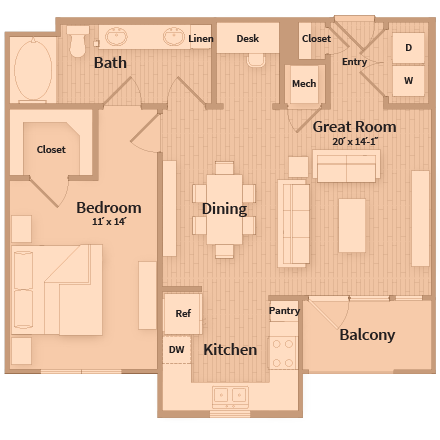 819 sq. ft. floor plan