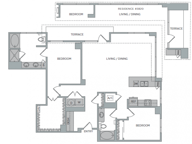 1,601 sq. ft. 2H floor plan