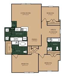 1,295 sq. ft. C-1 floor plan